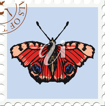 vector, post stamp with butterfly