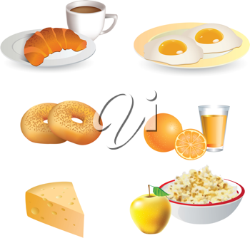 Royalty Free Clipart Image of Breakfast Foods