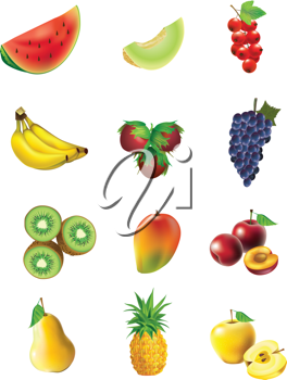 Royalty Free Clipart Image of a Set of Fruits and Vegetables