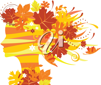 Royalty Free Clipart Image of an Autumn Silhouette of a Woman