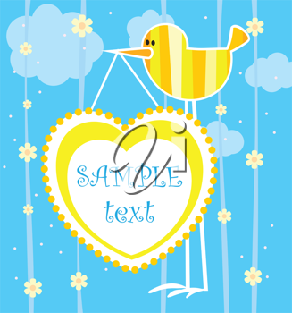Royalty Free Clipart Image of a Bird Card