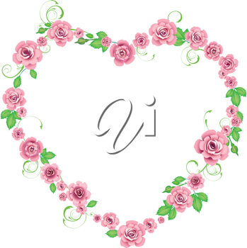 Royalty Free Clipart Image of a Floral Heart