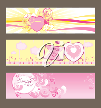 Royalty Free Clipart Image of Three Valentine's Day Card
