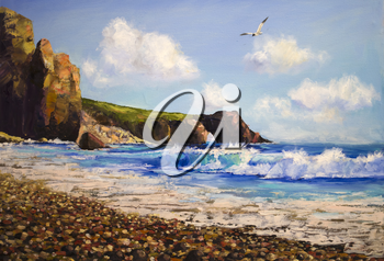 Royalty Free Clipart Image of a Seascape