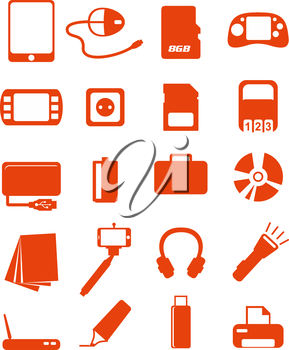 web media icons set, vector illustrations