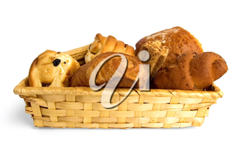 Buns, croissants, bread sticks in a wicker basket isolated on white background
