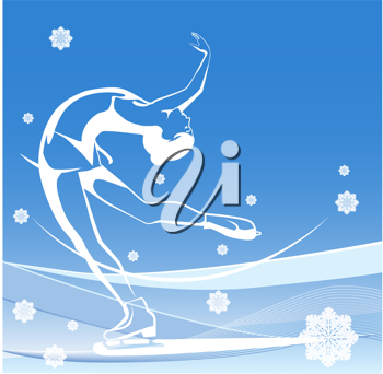 Royalty Free Clipart Image of a Woman Skating