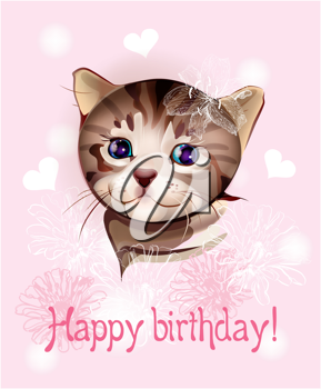 Royalty Free Clipart Image of a Cat Birthday Card