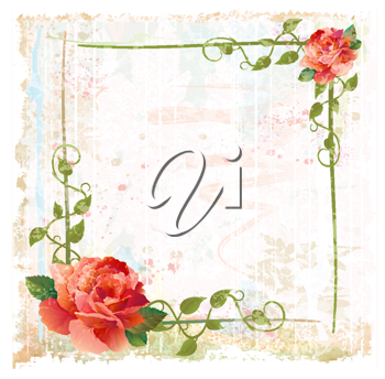 Royalty Free Clipart Image of a Frame of Red Roses