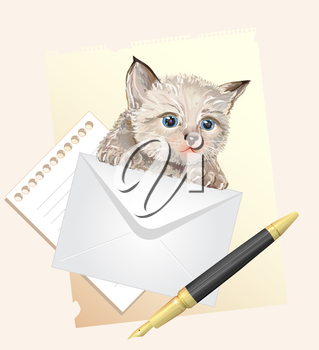 Fluffy kitten with envelope. Postage illustration
