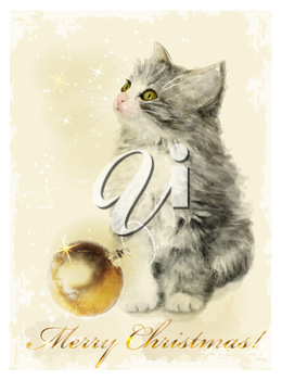 Christmas card  with fluffy kitten and golden ball. Vintage style.
