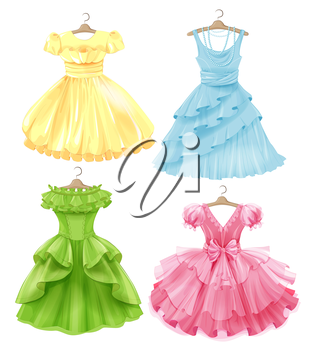 Set of festive dresses for girls. Princess style