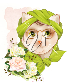 portrait of the hipster cat with glasses and  roses