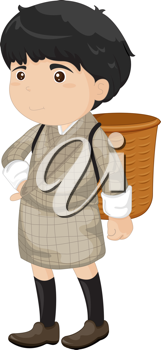 Royalty Free Clipart Image of a Boy Wearing a Basket