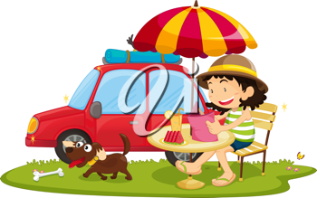 Royalty Free Clipart Image of a Woman and Dog Beside a Car
