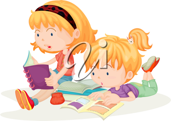 Royalty Free Clipart Image of Two Girls Reading