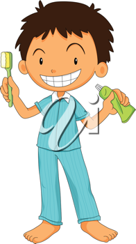 Royalty Free Clipart Image of a Boy Brushing His Teeth