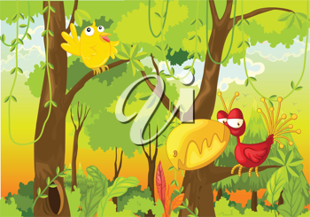 Illustration of 2 birds in the jungle