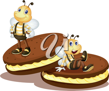 Cute bees on two biscuits