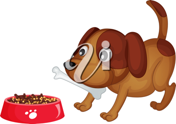 Illustration of a dog about to eat dinner