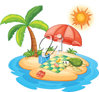 illustration of a turtle on an island
