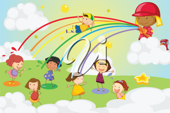 Illustration of kids playing in a park
