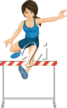 Illustration of lady doing hurdles