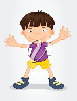 Illustration of a young boy standing on white