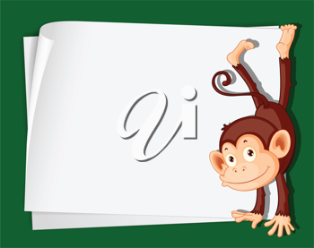 Illustration of a comical monkey on paper