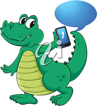 illustration of a crocodile with cell phone on a white