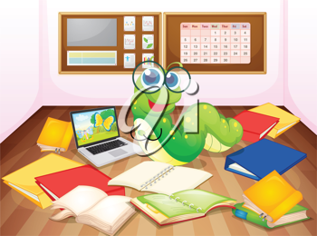 illustration of a worm enjoying in classroom