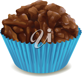 illustration of chocolates in blue cup on a white background