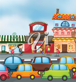 illustration of cars and kids on the road