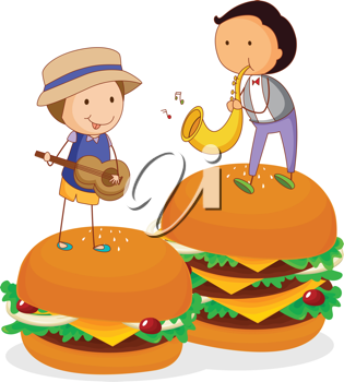 illustration of kids and burger on a white background