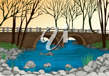 detailed illustration of a bridge in nature and dry trees