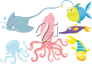 illustration of various underwater animals on white background