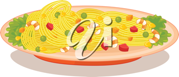 Illustration of a bowl of spaghetti marinara