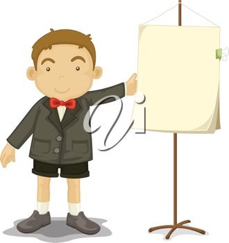 an illustration of a boy with a blank sign