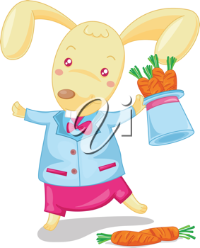 ilustration of rabbit carrying carrots on white
