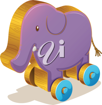 Illustration of a purple toy elephant