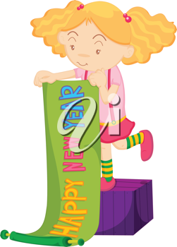 Illustration of a girl with Happy New Year banner