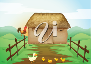 illustration of house and ducks in a beautiful nature