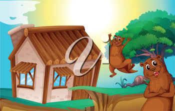 illustration of wooden house and otters in nature