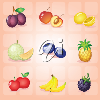 illustration of various fruits on a red background
