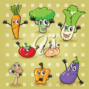 illustration of various vegetables on a yellow background
