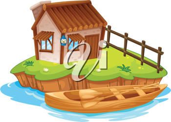 Illustration of a house on an island on a white background