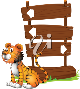 Illustration of a tiger beside a wooden signboard on a white background