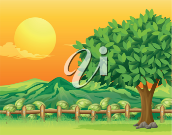 Illustration of a tree and a beautiful landscape
