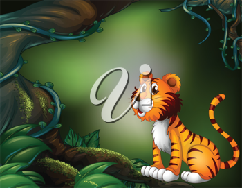 Illustration of a tiger in the dark forest