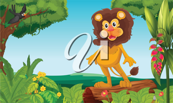 Illustration of a jungle with a lion and a bird